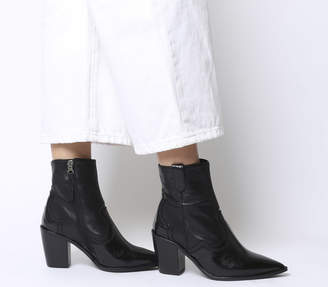 0c0b17551cf6 Office Attacked Western Point Block Heels Black Leather Mix