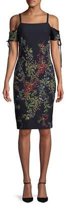 Rachel Roy Tie-Sleeve Crepe Midi Dress