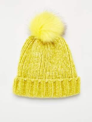 4c0df6c2d36dfb Very Rebeka Chenille Pom Pom Beanie - Yellow