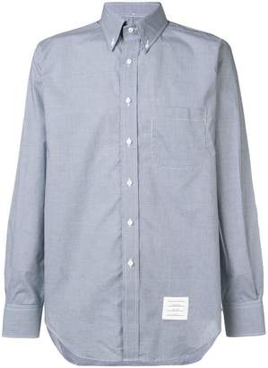 Thom Browne Classic Long Sleeve Poplin Shirt In Small Gingham Check