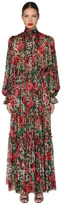 Dolce & Gabbana Leopard & Rose Chiffon Stretch Jumpsuit