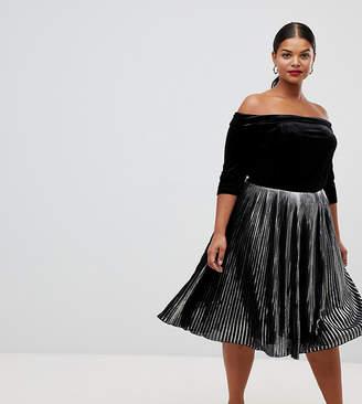 0c58357e8b4a8 Bardot Lovedrobe velvet dress with metallic pleated skirt