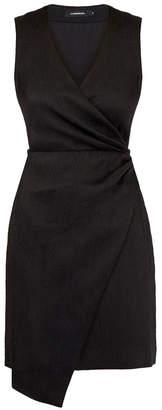 J. Lindeberg Li Black Feather Print Wrap Mini Dress