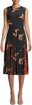 Diane von Furstenberg Talita Bird-Print Silk Pleated Sleeveless Dress