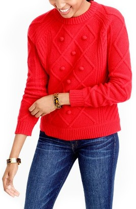 Women's J.crew Hawthorne Cable Pom-Pom Sweater $98 thestylecure.com