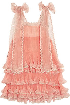 Chloé - Tiered Plissé Silk-organza Mini Dress - Peach $7,995 thestylecure.com