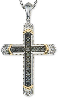 Macy's Men's Diamond Cross Pendant Necklace (1/4 ct. t.w.) in Sterling Silver and 10k Gold