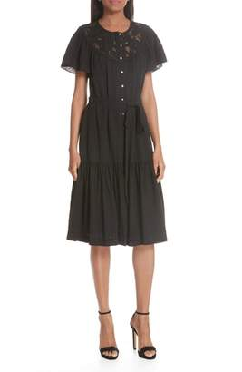 Rebecca Taylor Linen Lace Yoke Dress