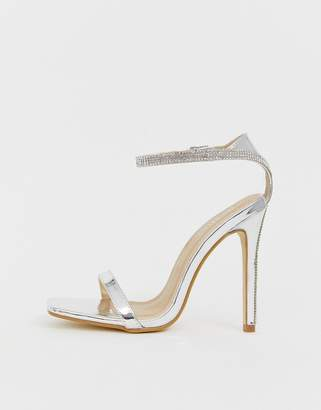 Barely There Be Mine Bridal Lylie silver metallic rhinestone strap sandals