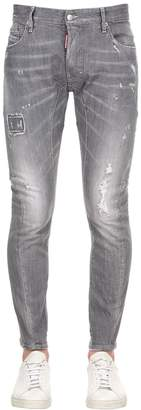DSQUARED2 17cm Tidy Biker Grey Cotton Denim Jeans