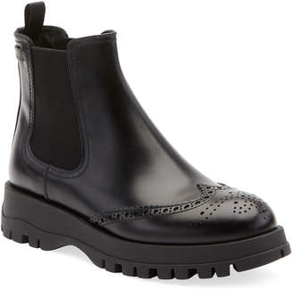 Prada Leather Wing-Tip Chelsea Boots