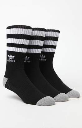 adidas Roller 3 Pack Black & White Crew Socks