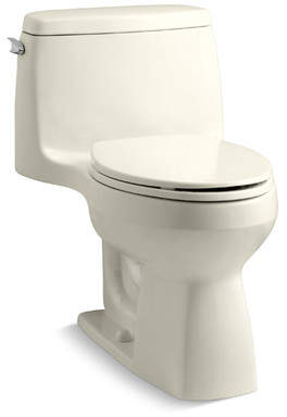 Kohler Santa Rosa Comfort Height One-Piece Compact Elongated 1.28 GPF Toilet with Aquapiston Flush Technology and Left-Hand Trip Lever