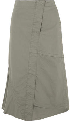 Theory Asymmetric Paneled Cotton-blend Twill Midi Skirt - Army green