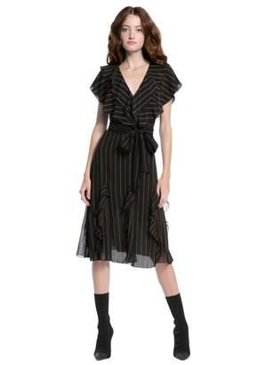 Alice + Olivia Tessa Ruffle Godet Midi Dress