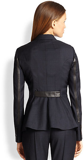Burberry Leather-Trimmed Fathingstone Jacket
