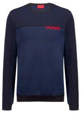 HUGO Boss Knitted sweater cropped logo & horizontal stripes L Black