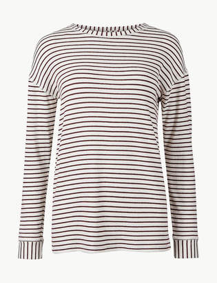 M&S Collection Cotton Blend Striped Long Sleeve Sweatshirt