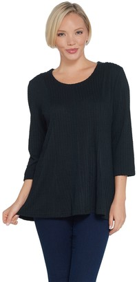 Denim & Co. Petite Textured Knit Fit & Flare 3/4 Sleeve Top