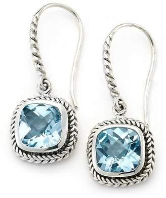 Samuel B Jewelry Sterling Silver Rope Etched Blue Topaz Drop Earrings