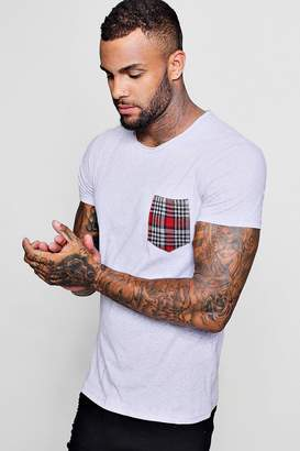 boohoo Check Chest Pocket T-Shirt