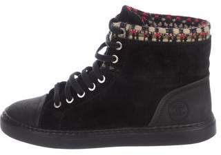 Chanel Suede High Top Sneakers