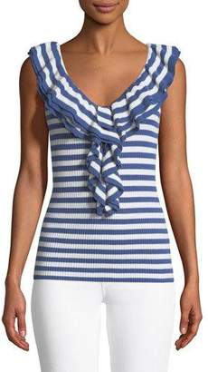 Trina Turk Quill Ruffle-Neck Ribbed Tank Top