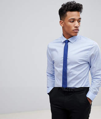 Asos Design Skinny Blue Shirt And Navy Tie Save