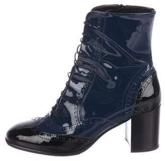 Chanel Patent Leather Brogue Booties Navy Patent Leather Brogue Booties