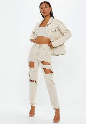 Missguided High Rise Extreme Ripped Mom Jeans