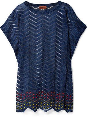 Missoni Mare Metallic Crochet-knit Kaftan - Navy