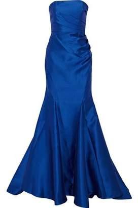 Badgley Mischka Strapless Gathered Satin-Twill Gown