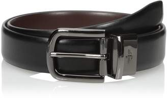 Dockers 1 4 Inch Feathered Edge Reversible Belt with Gunmetal Buckle