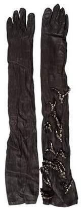 Lanvin Swarovski Leather Gloves