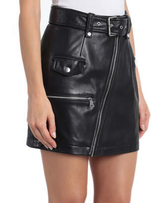 Bagatelle Belted Leather Moto Pencil Skirt