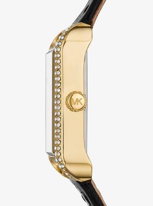 Michael Kors Lake Crocodile-Embossed Leather Watch