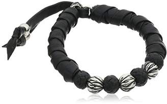 King Baby Studio Thick Natural Wrap Leather with Silver and Leather Bracelet