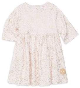 Smiling Button Little Girl's& Girl's Winnie Golden Star Cotton Dress