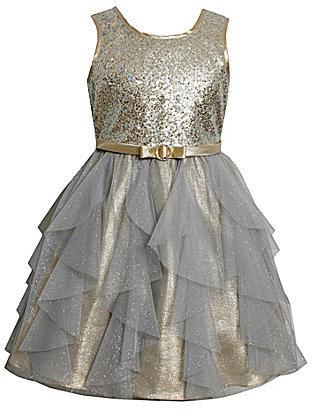Bonnie Jean 7-16 Sequin-Bodice Glitter/Tulle-Skirted Dress