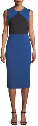 Diane von Furstenberg Colorblock Sleeveless Sheath Midi Dress