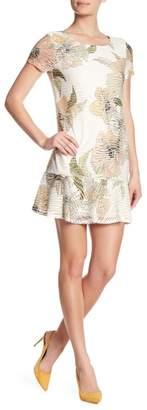 Nicole Miller Studio Floral Print Flounce Hem Dress