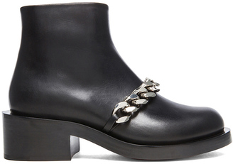 Givenchy Laura Leather Silver Chain Ankle Boots $1,650 thestylecure.com