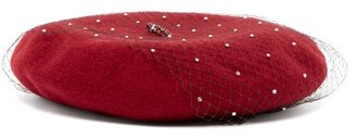 Benoit Missolin Swarovski Crystal Embellished Wool Beret - Womens - Burgundy