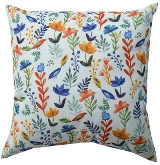 """Mainstays Bird Floral Decorative Throw Pillow, 18"""" x 18"""""""