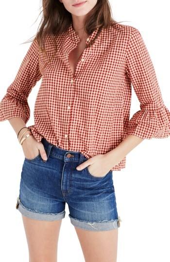 Women's Madewell Gingham Bell Sleeve Shirt