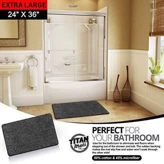 "Indoor Non Slip Super-Absorbent Indoor Doormat | Absorbs Mud | Traps Dirt | Latex Bottom | 24""x36"" | Machine Washable Carpet | Black & White Fiber | Extra Large Rug| TITAN MATS: 2018"
