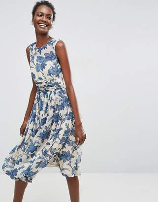 Asos Design Midi Dress With Ruched Panel Detail in China Blue Print