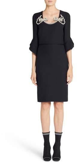 Fendi Embellished Wool & Silk Gazar Dress