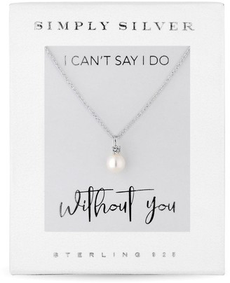 Jon Richard Jewellery Sterling Silver 925 White Cubic Zirconia Carded Boxed Short Pendant Necklace