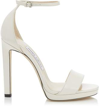 a64c57a9f54 Jimmy Choo MISTY 120 Latte Patent Leather Platform Sandals